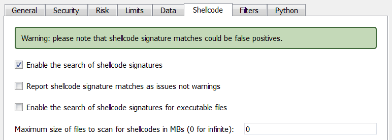 Shellcodes scan options