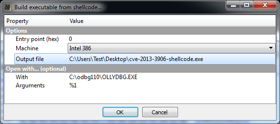 Shellcode to executable options